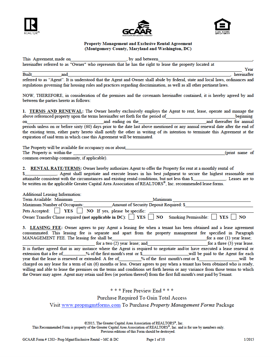 District Of Columbia Property Management Agreement Property Management Management Agreement
