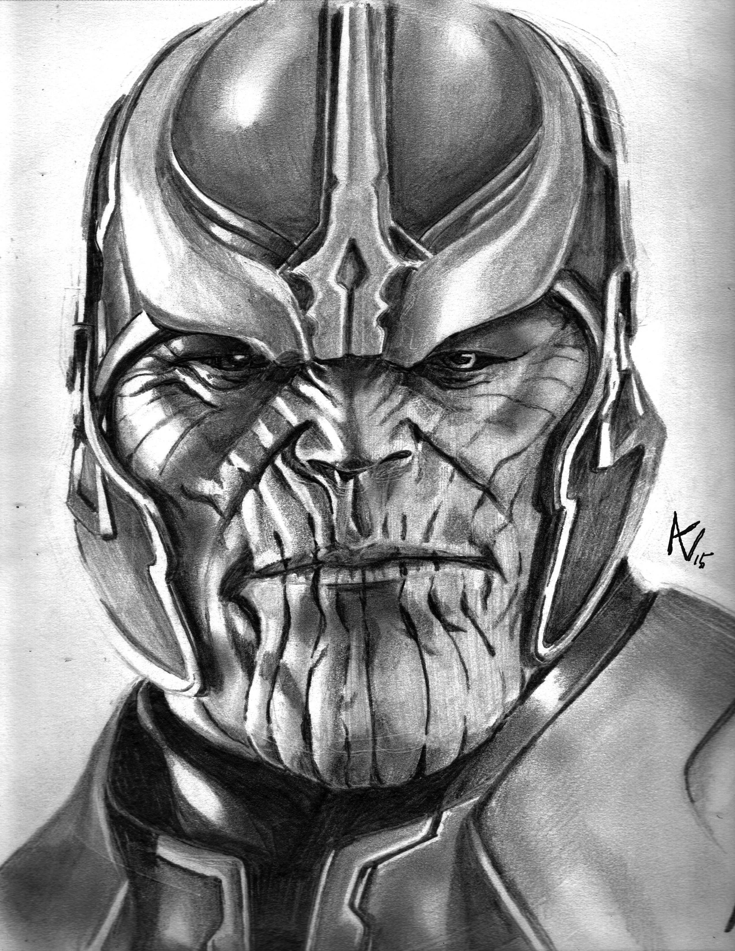 Thanos - Movie Version Art By Alice V. Falto   AV Art Studio Pencil Drawing   Pinterest   Thanos ...