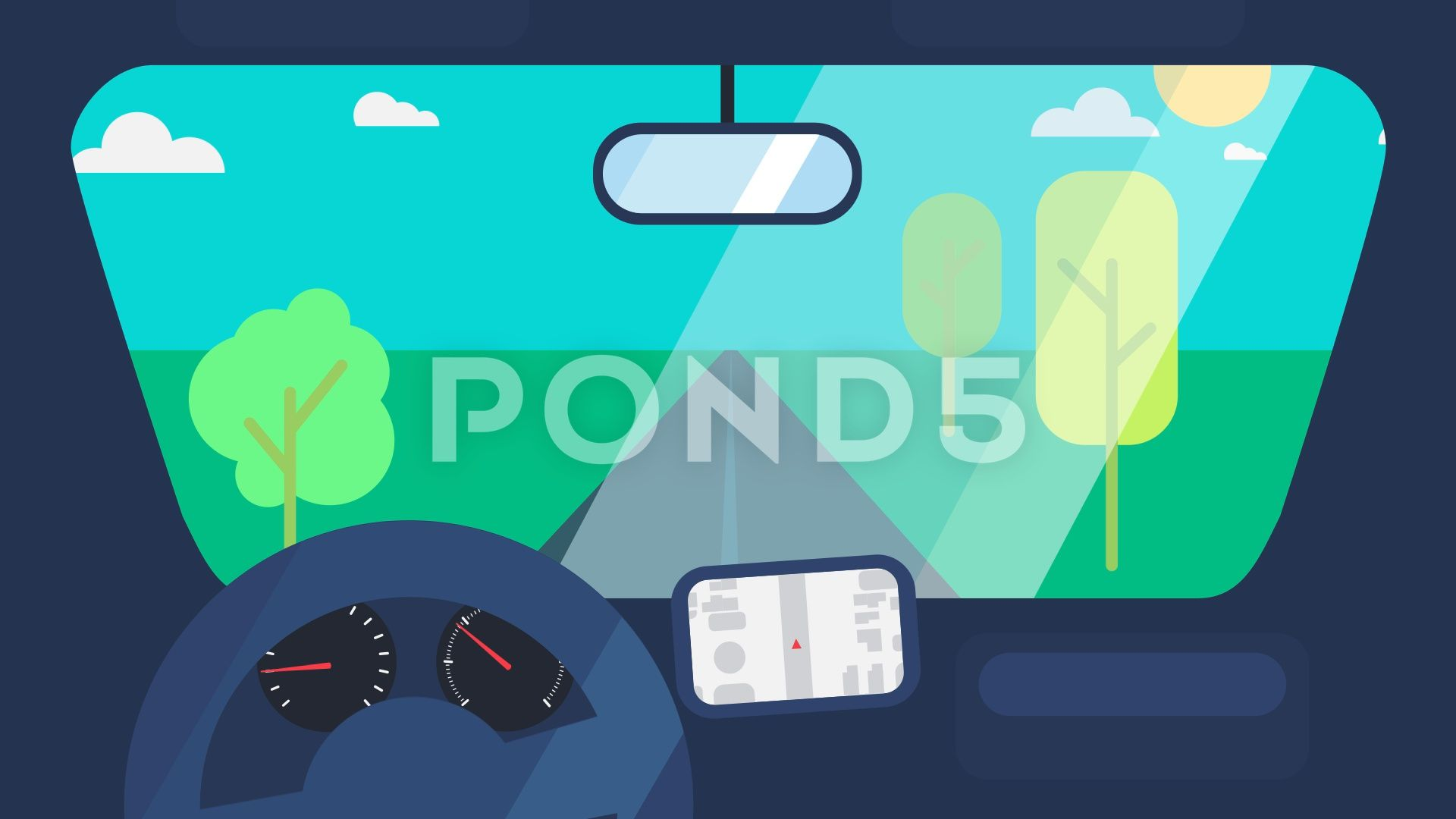 Driving on car animation stock footage by barsrsind