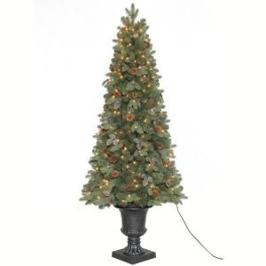 Home Accents Holiday 6 5 Ft Greenland Potted Artificial Christmas Tree With 250 Clear Lights Tv66p2534c00 The Home Depot Potted Christmas Trees Creative Christmas Trees Christmas Tree Sale