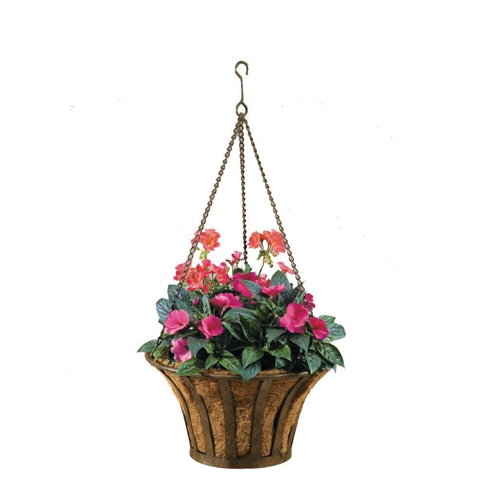 Deer Park Solera 15 In Round Metal Hanging Basket With Coco Liner Ba203x At The Home Depot Mobil Hanging Planters Metal Hanging Planters Planter Accessories
