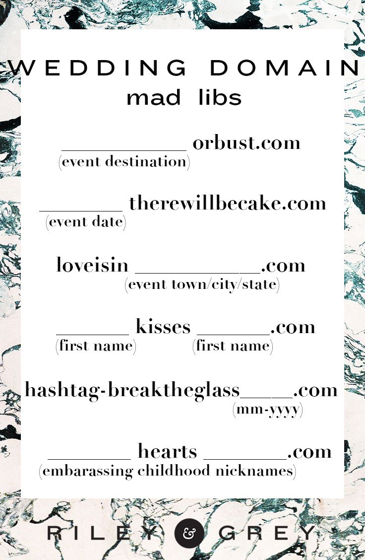 Cute Funny Wedding Website Domain Name Mad Libs To Jog Your Creativity Infograph How Ideas