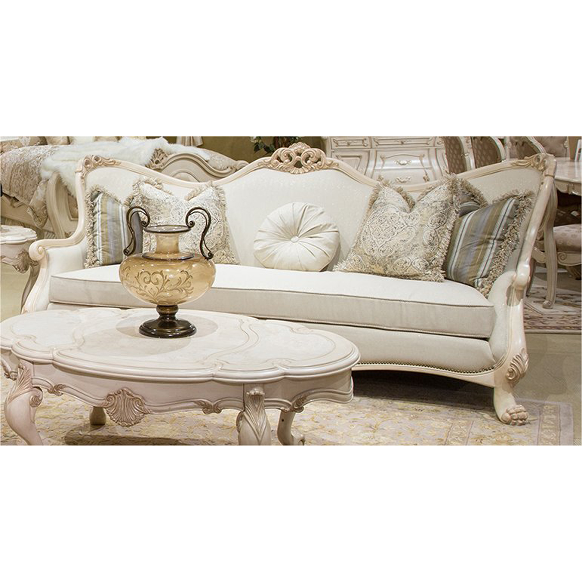 Chateau de lago wood trim sofa in cream by aico home for Lago furniture
