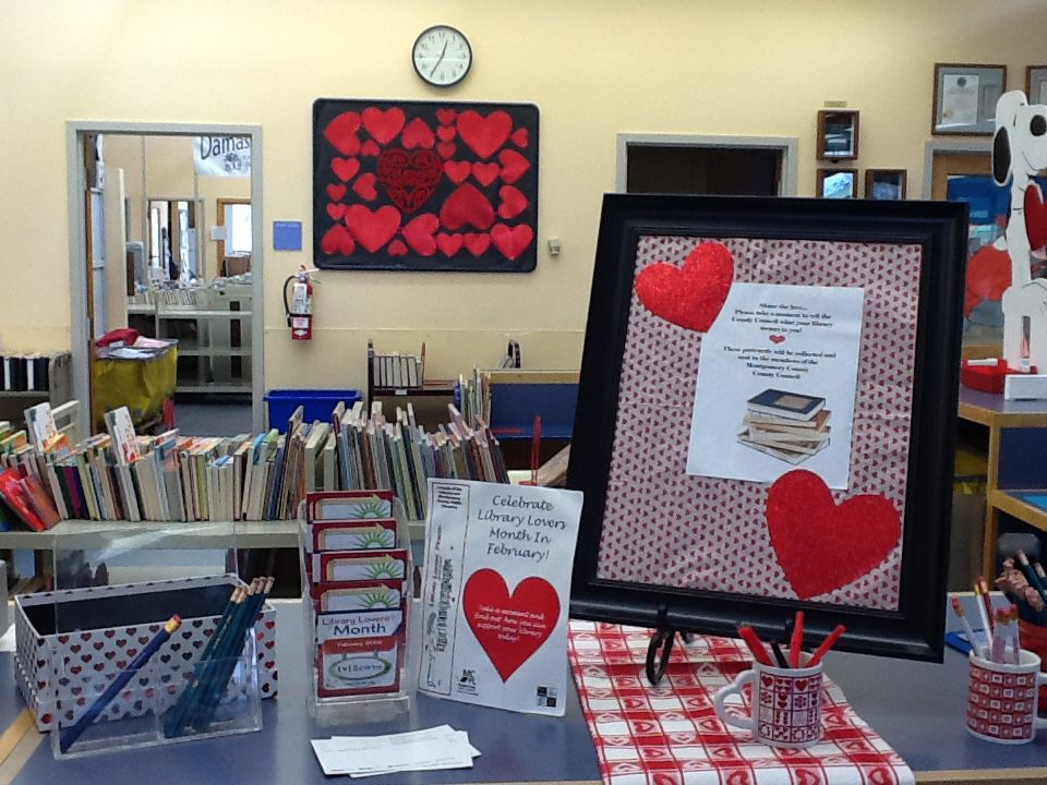 Library Lovers Month comment card station at Damascus