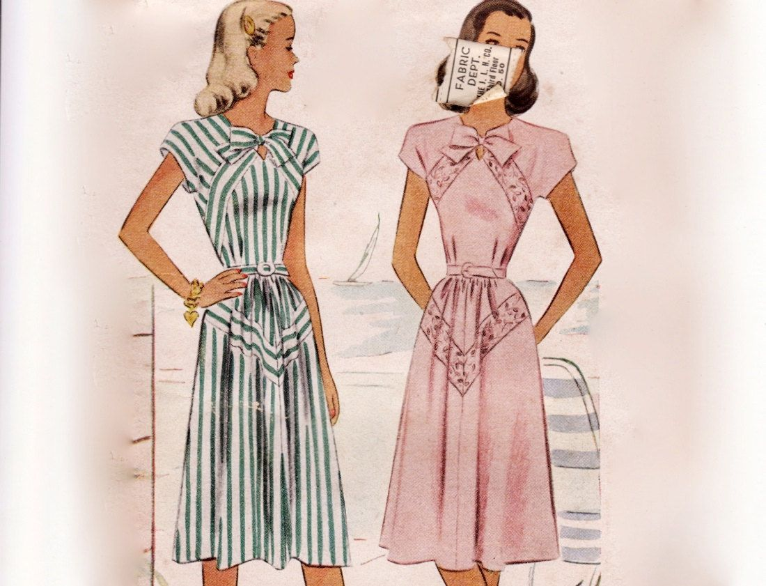 Vintage 1940s Sewing Pattern - Cap Sleeve Dress with Unusual ...