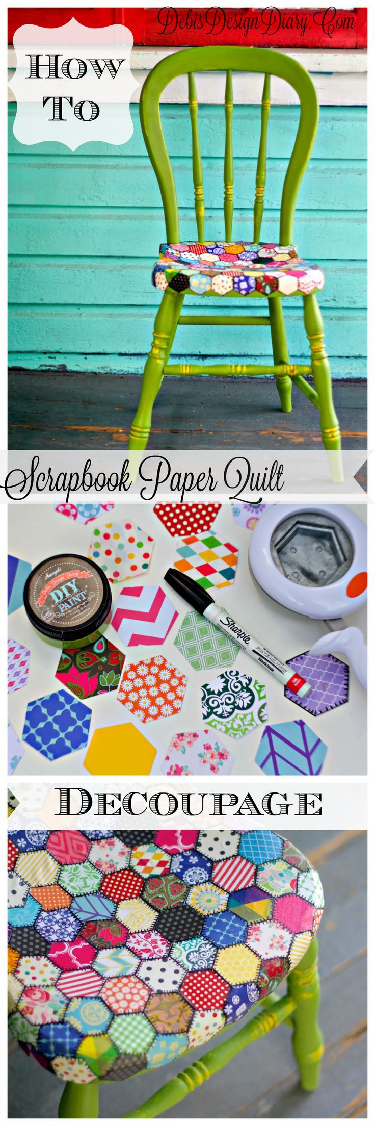 decoupage ideas for furniture. How To Decoupage Furniture In A Quilt Pattern With Scrapbook Paper. Also, This Chair Was Painted 2 Ounces Of DIY Paint! Ideas For