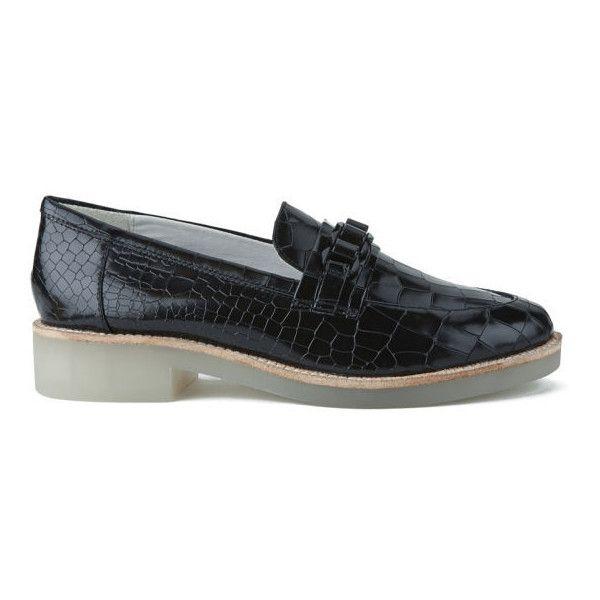 Senso Women's Isaac III Hi-Shine Croc Leather Loafers - Ebony ($125) ❤.  Black LoafersBlack Leather ShoesLeather ...