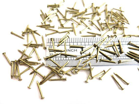 Solid Brass Tiny Nails 4 25mm 3 16 1 Tack Nails Brads Rivets 1 2mm 19 Diameter Mini Small Round Head Solid Brass Brass Tack Nails