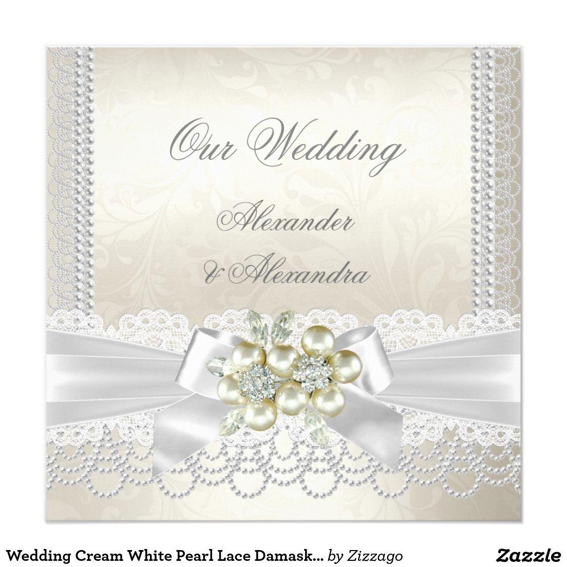Wedding Cream White Pearl Lace Damask Diamond 5.25x5.25 Square Paper ...