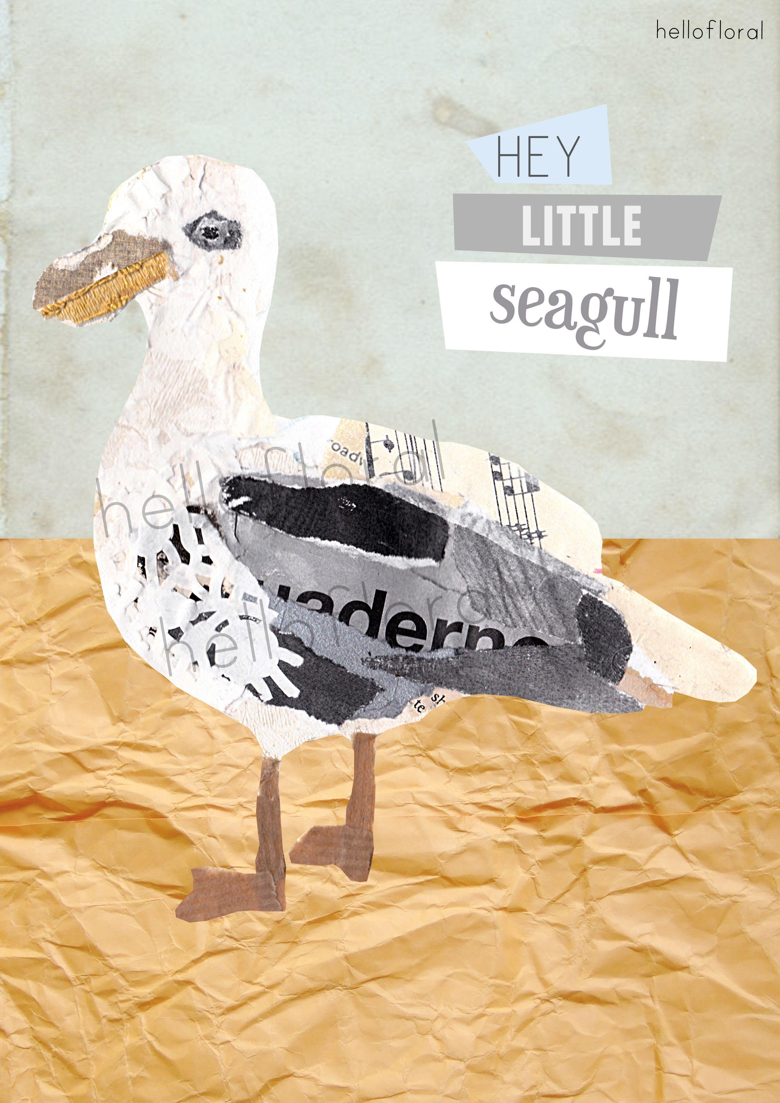 mixed media seagull illustration - A2 graphic design exam