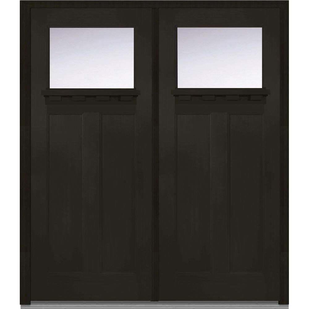Milliken Millwork 72 In X 80 In Classic Clear Glass 1 Lite Craftsman Finished Fir Fiberglass Double Prehung Fron Double Doors Exterior Front Door Clear Glass