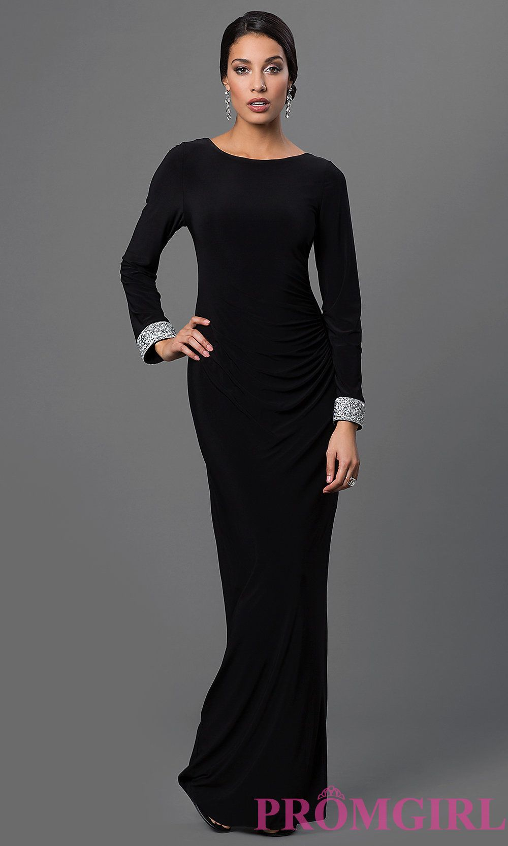Image of black long-sleeve open-back prom dress by Marina Front ...