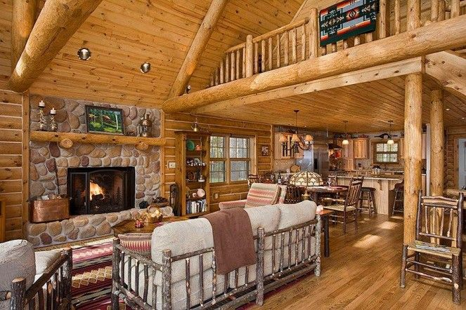 small log home interiors - Google Search