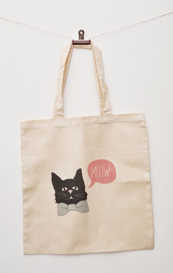 This bow tie cat tote bag is cute and versatile.