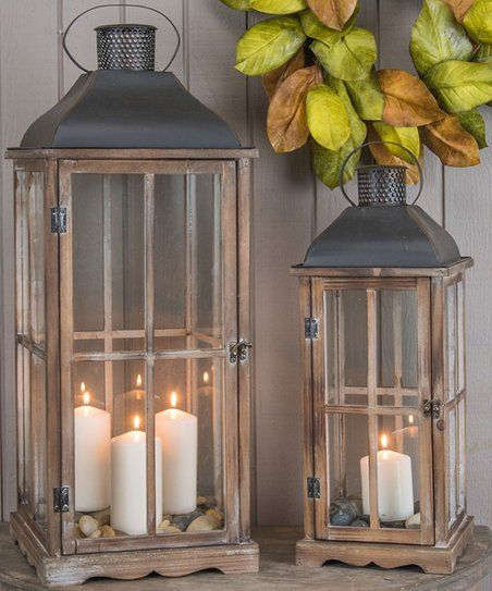 Light Up Your Space In Style With This Duo Of Vintage Inspired Lanterns That Are Ready To Be Filled Wit Floor Lanterns Rustic Flooring Decorative Floor Lantern