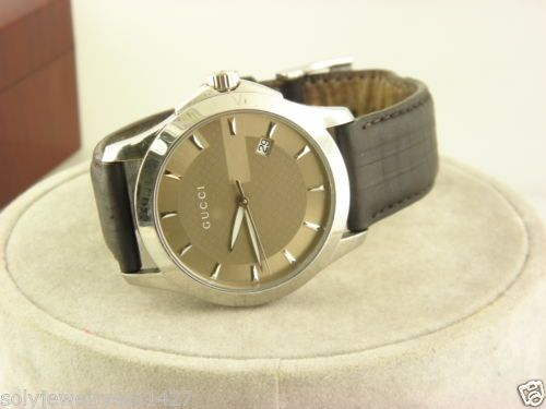 4089b67fcb6 GUCCI 126.4 Stainless Steel Swiss Quartz Leather Band Dress Men s Watch. in  Jewelry   Watches