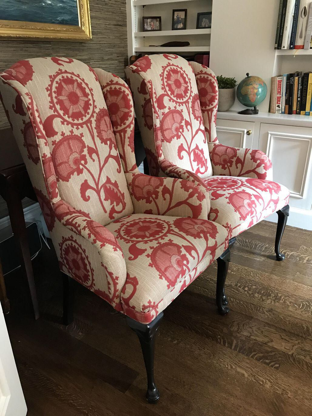 Red And White Wingback Chairs A Pair On Chairish Com Wingback