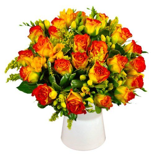 Clare Florist Roses And Freesia Fresh Flower Bouquet Fresh Flower Bouquets Freesia Flowers Beautiful Bouquet Of Flowers