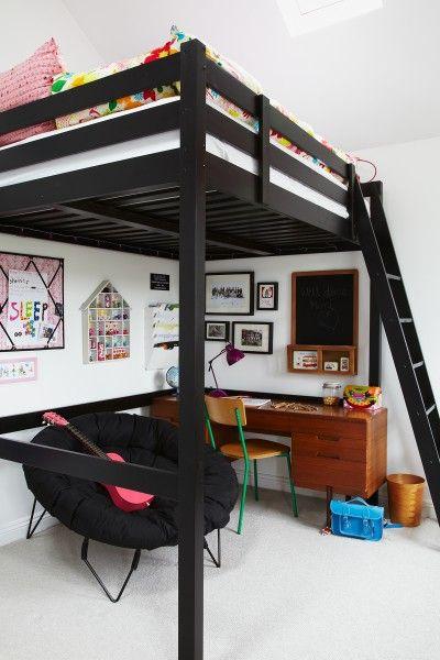 20 Ideas para agregar color negro a tu habitación Lits mezzanine