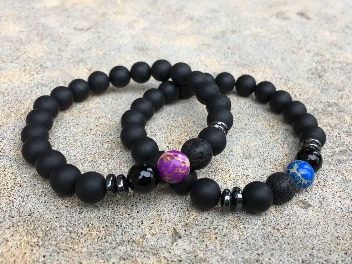 pc set distance bracelets blue and purple gifts pinterest