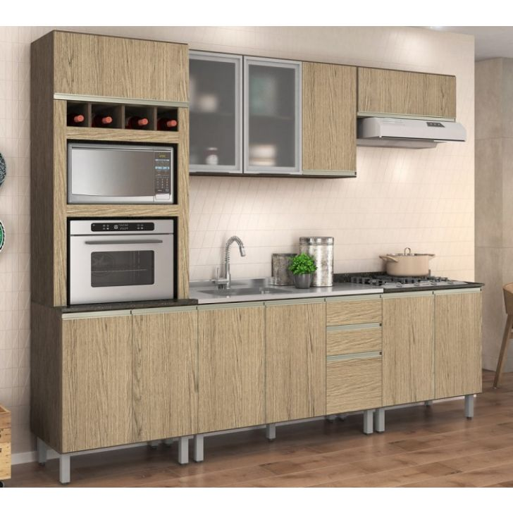 Cozinha Completa Modulada Ebani Amendoa Carvalho Gris 100 Mdf 5