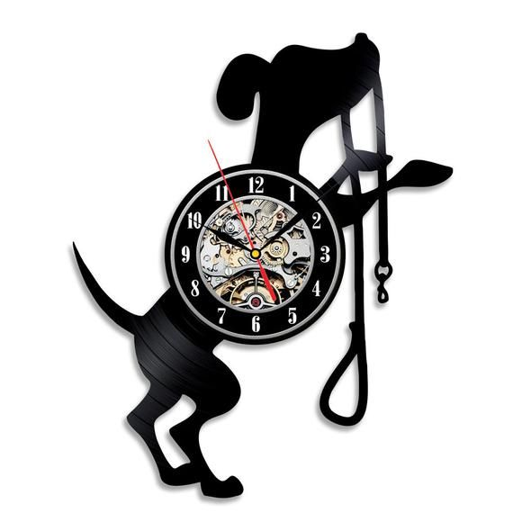 Dog Wall Decor Modern Wall Clock Pet Decor Animal Wall Art Puppy Decor Wall Clock Vinyl Dog Lover Art Custom Pet Art Nursery Animal Print Wall Clock Vinyl Record Clock Clock