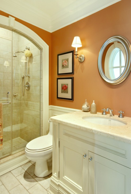 orange wall in bathroom | Home Is Where the Heart Is | Pinterest ...