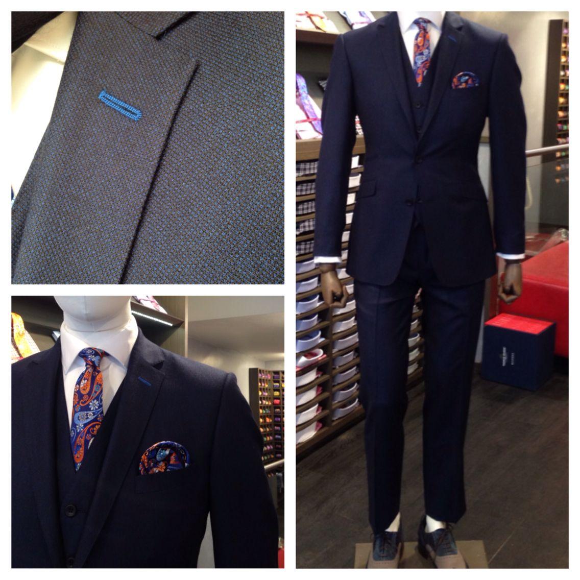Merino Wool Stratford Midnight Blue Birdseye 3 Piece Suit Perfect