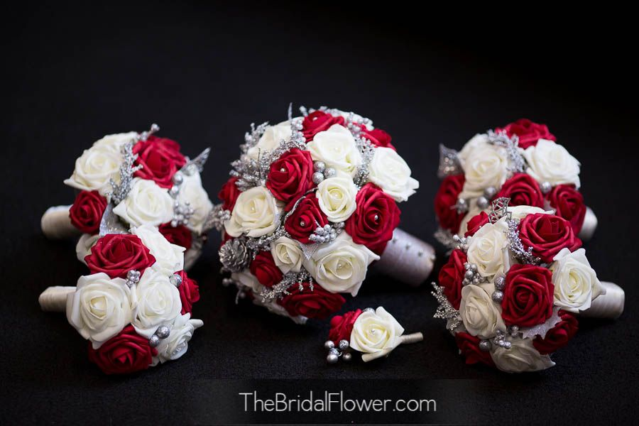 Red And White Silk Bridal Bouquets