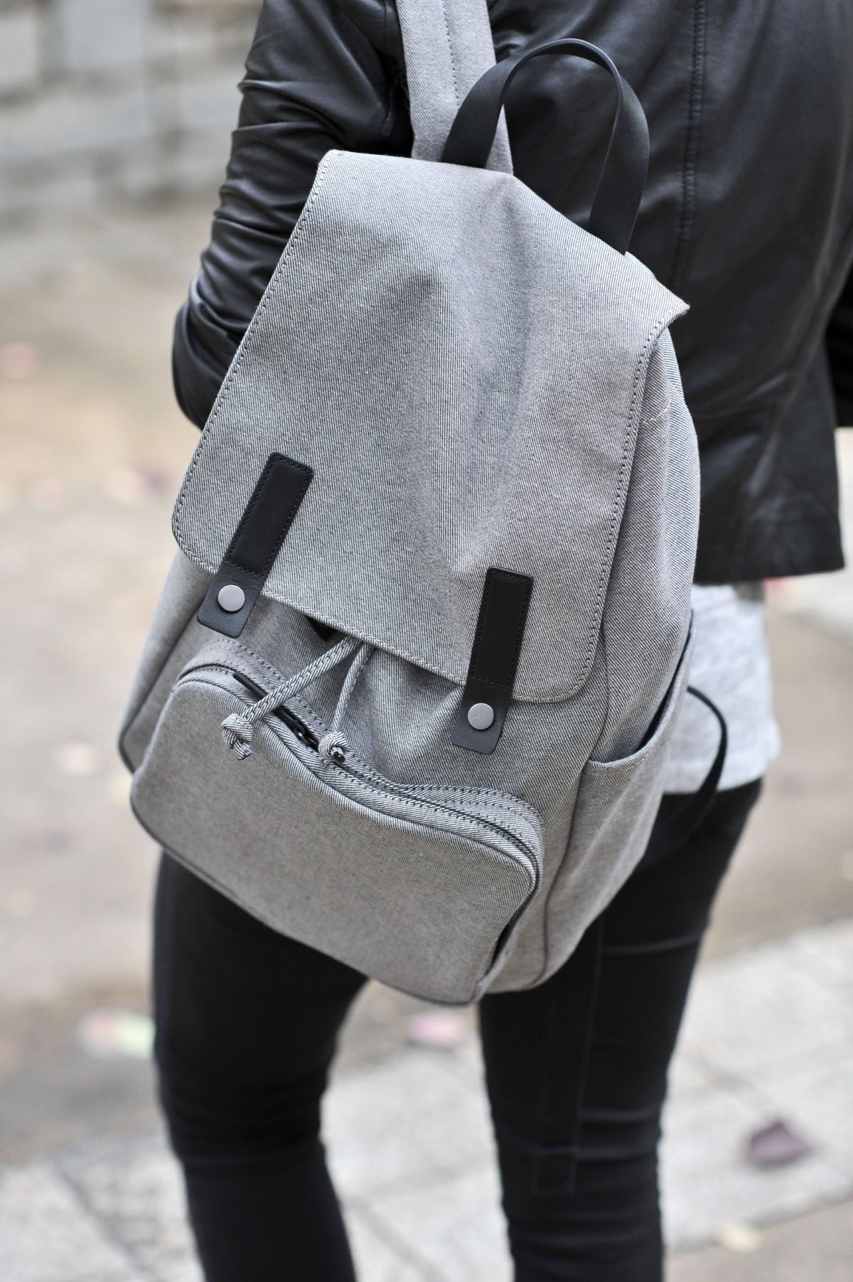 uniform grey outfit backpacks and gray