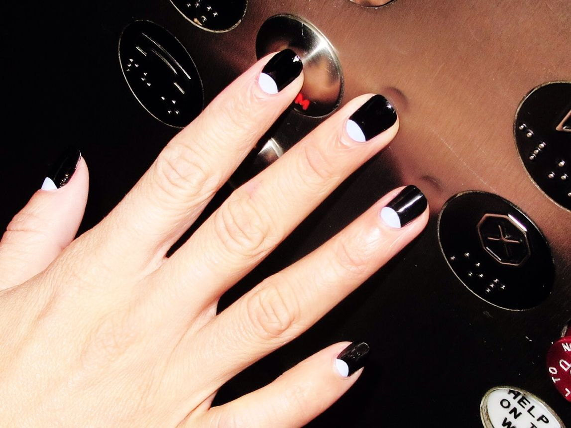 Black With White Half Moons Moon Nails Moon Manicure Nails