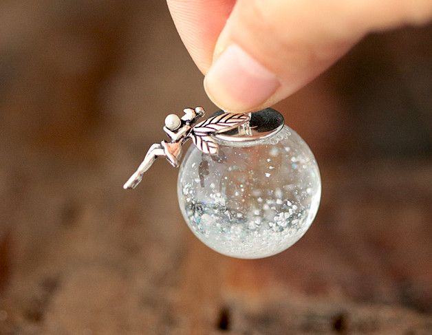 Schneekugel-Kette *Fee* 925 Silber - k167 | Pinterest | Schneekugel ...