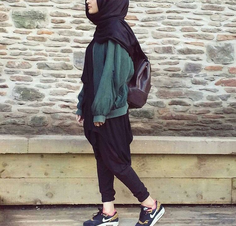 Sporty hijab , casual hijab, lazy hijab look, sneakers hijab. Abaya Fashion,
