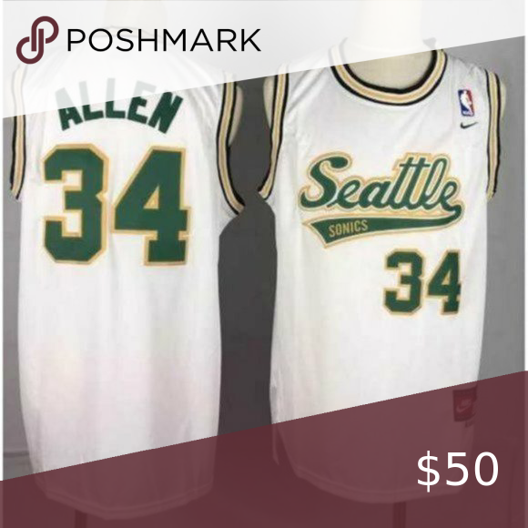 Seattle Sonics Ray Allen White Jersey 1 Brand New With Tags 2 All Items Fit True To Official Size 3 Machine Wash Line Dry 4 Allen White White Jersey Jersey