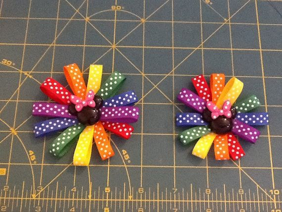 Rainbow dot Minnie Mouse clip by MeridaMerchandise on Etsy, $5.00 SALE ON ALL BOWS at Merida Merchandise on Etsy. https://www.etsy.com/shop/MeridaMerchandise?section_id=13878367