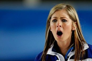 Eve Muirhead Scottish women's curling - poor girl is caught giving her team encouragement, but I love her hair!