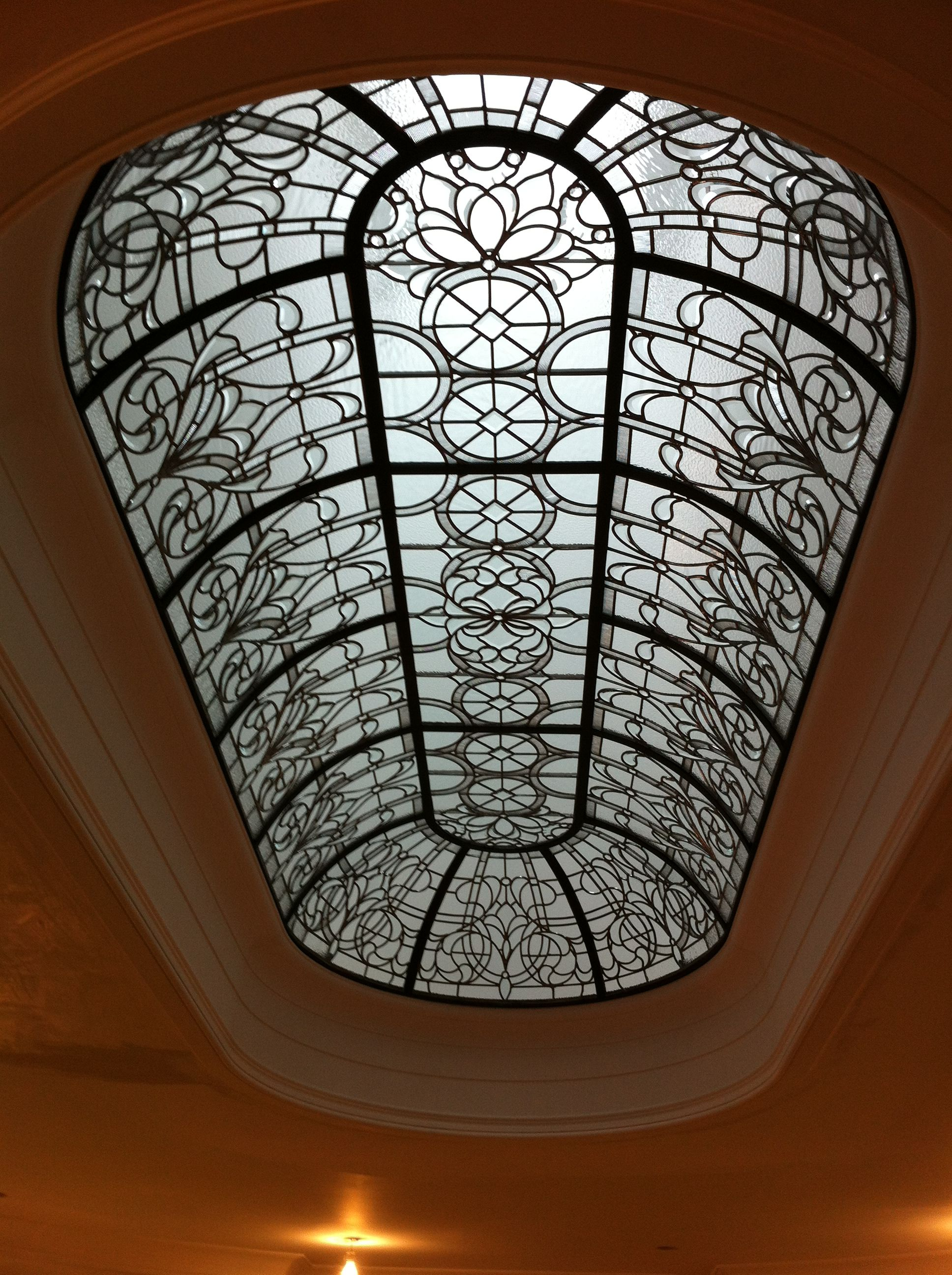 Beautiful leaded glass geometric dome with a classic design, accented by clear bevels #InteriorDesign