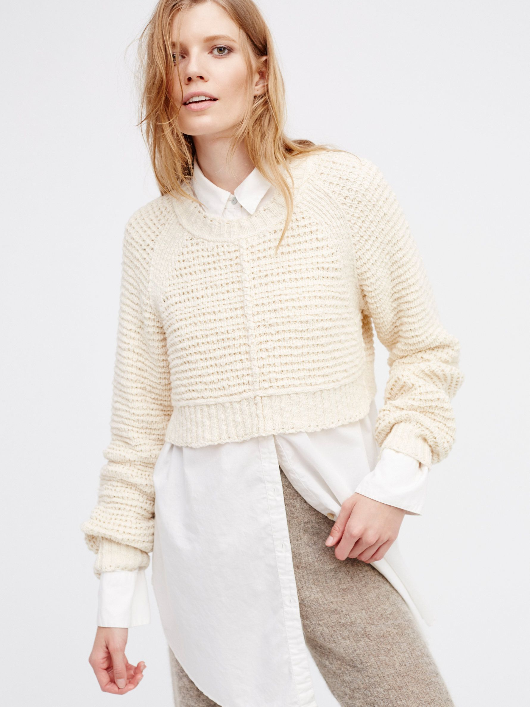 Rosita Crop | Simple cropped knit sweater with a lived-in look. Cool, relaxed silhouette.