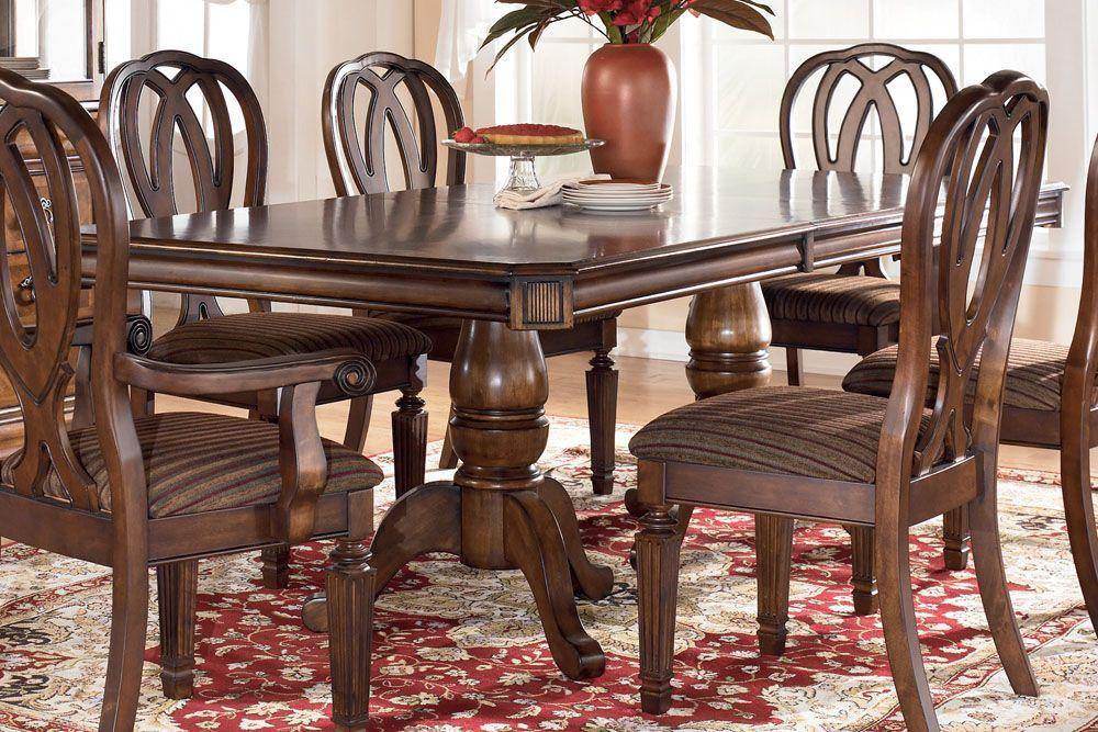 Hamlyn Double Pedestal Dining Table Ashley Furniture Dining Dining Room Design Dining Room Sets