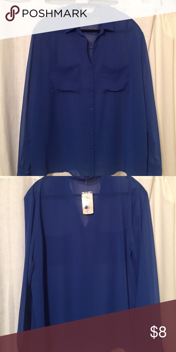 cobalt blue sheer blouse never worn tags attached sheer cobalt