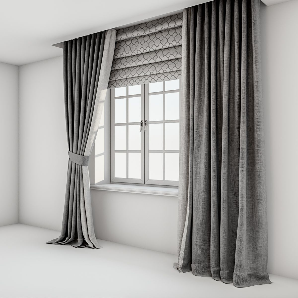 Grey Curtains Straight To The Floor And Catch It A Roman Blind With A Quatrefoil Pattern And The Wi Brown Floors Roman Curtains Dark Brown Floor