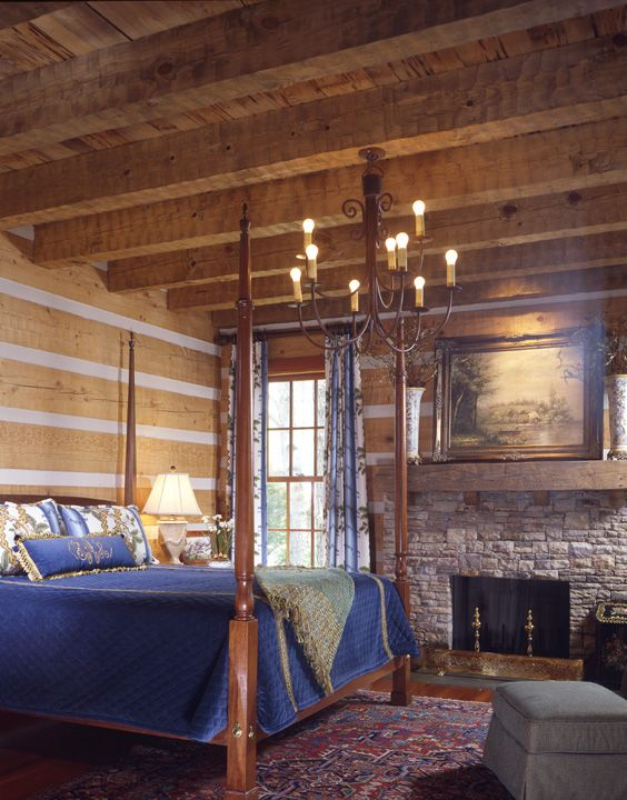 Master suite with hand hewn heavy timber ceiling and stone fireplace
