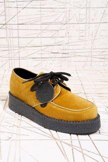 Underground Shoes Mustard Velvet Creepers