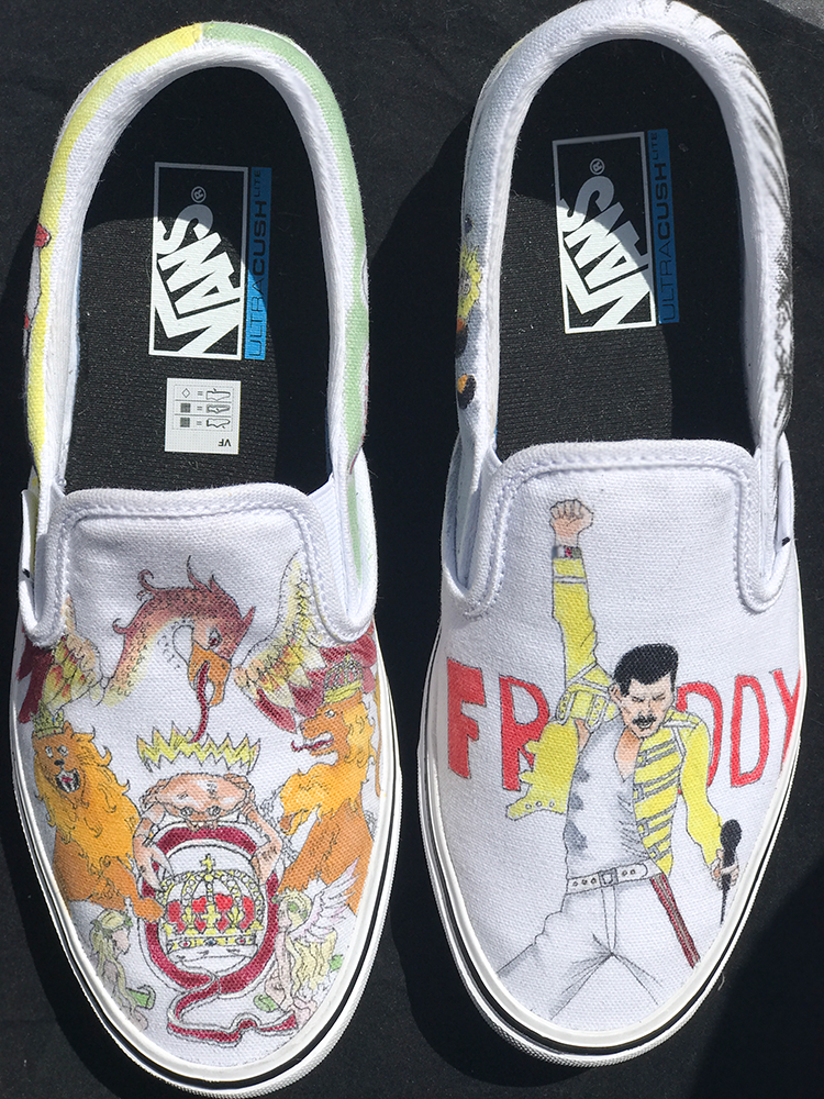 824a0345bb Queen Freddy Mercury customs by Sophia Rose @trickURkicks on Vans Classic  Slip ons lites