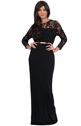 331f3005ca KOH KOH Plus Size Womens Long Long Sleeve Lace Slimming Tube Evening  Cocktail with Belt Party Semi Formal Sexy Designer Prom Vestido Apparel  Maxi Dress ...