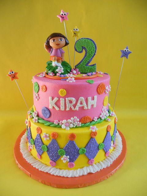 Dora 2nd Birthday Cake by CakesUniqueByAmycom via Flickr Dora