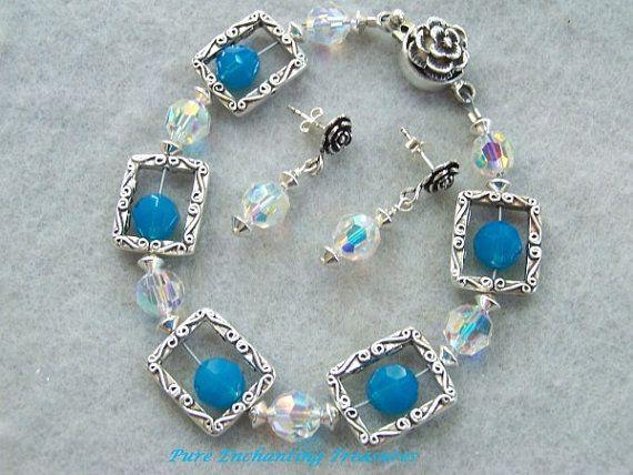 Carribbean Opal Swarovski Crystal Bracelet by PETreasures on Etsy, $45.00...SOLD
