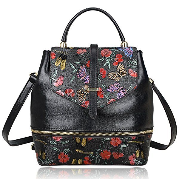 PIJUSHI New Designer Women s Handmade Floral Leather Small Backpack (65363 4ba765e563125