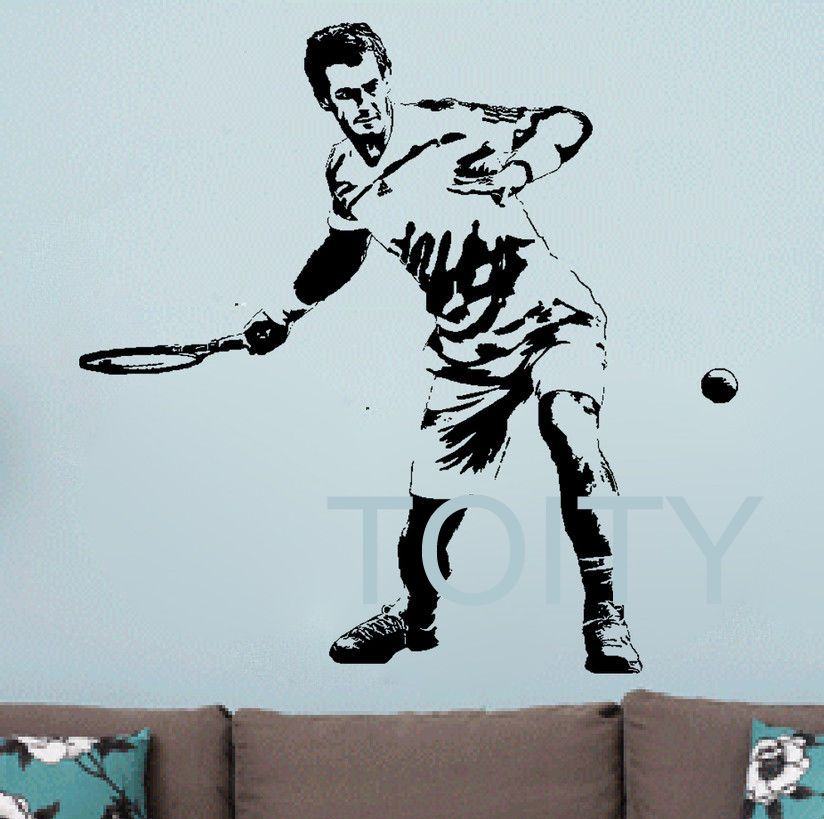 Tennis Sticker Car Window Sports Decal Muurstickers Name Posters Vinyl Wall Decals Parede Decor Mural Tennis Sticker & Andy Murray Wall Sticker Tennis Wimbledon Championships Vinyl Decal ...