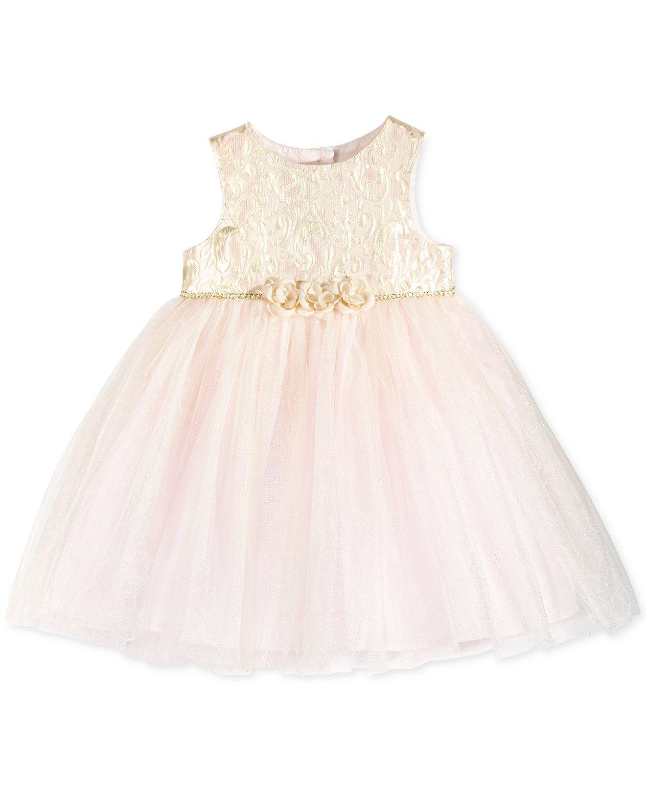 Marmellata Baby Girls Pink & Gold Brocade Dress Baby Girl 0 24